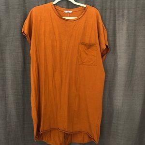 Zara Burnt Orange T-shirt Dress